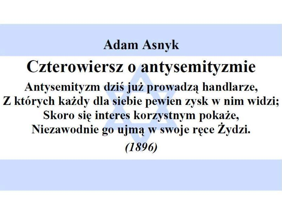 Adam Asnyk - Antysemityzm (źródło: NCzas.com)