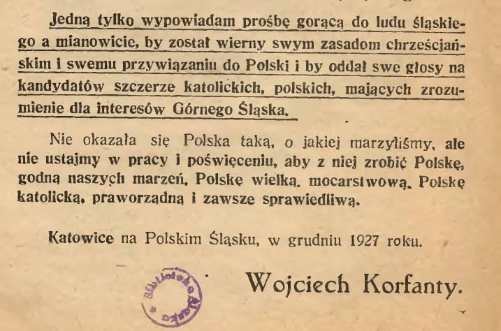 Słowa Wojciecha Korfantego z 1927 r.