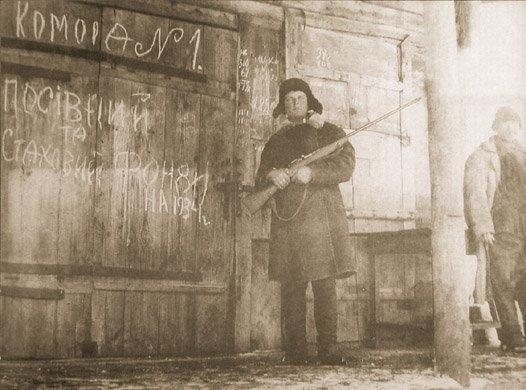 Uzbrojony aktywista wiejski pilnujący magazynu ze zbożem w obwodzie charkowskim w 1933 r.