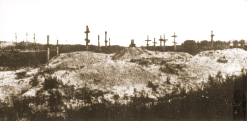 Cmentarz z masowymi mogiłami zmarłych z głodu w Charkowie