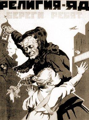 Sowiecki plakat propagandowy przedstawiający religię jako jad zatruwający dziecko