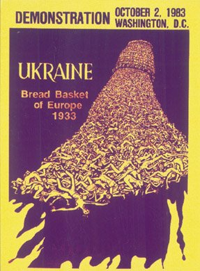 Plakat informujący odemonstracji organizowanej wWaszyngtonie 2 października 1983 r., w50 rocznicę Wielkiego Głodu