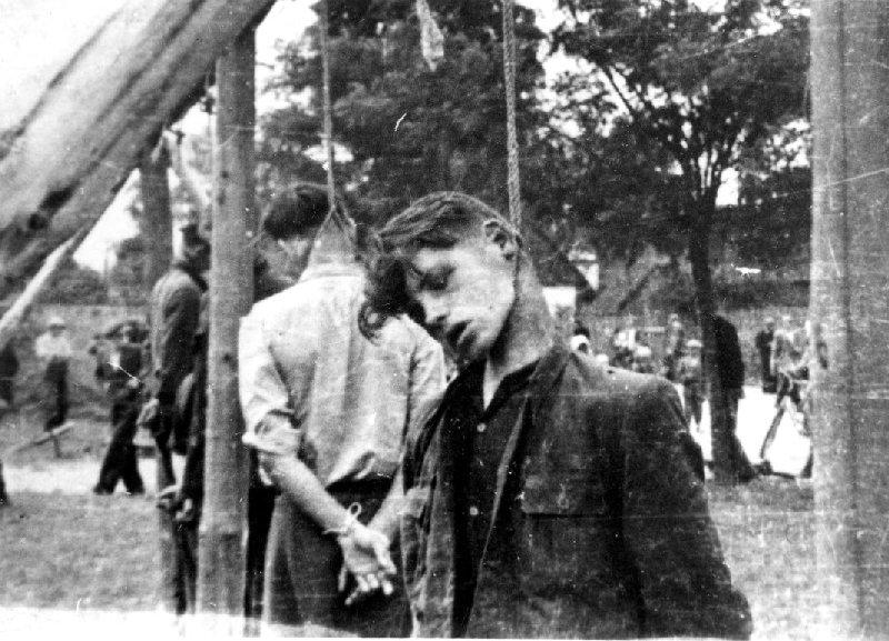 Mężczyźni powieszeni w czasie pacyfikacji wsi Dmenin, pow. radomszczański, b.d. [ze zbiorów IPN].