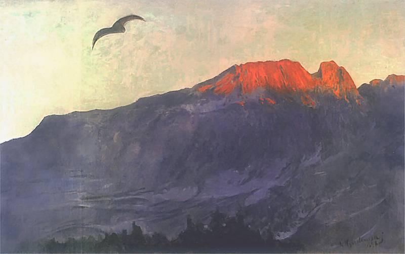 Giewont o zachodzie słońca