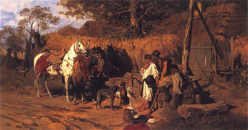 Kozak i dziewczyna przy studni