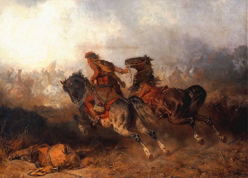 Luzak, podprowadzanie konia do bitwy