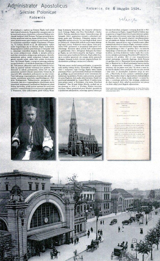 Plansza wystawa dot. ingresu ks. A. Hlonda w kościele Mariackim