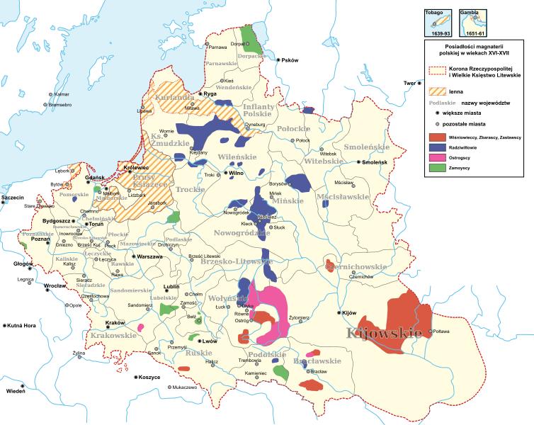 Posiadłości ziemskie polskich rodów magnackich w XVI-XVII wieku