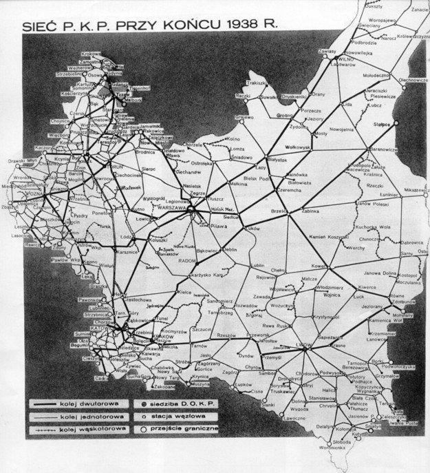 Sieć kolejowa II Rzeczpospolitej w 1938 r., po 20. latach niepodległości