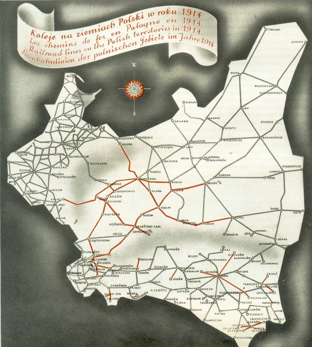 mapa sieci kolejowej odziedziczonej po zaborcach