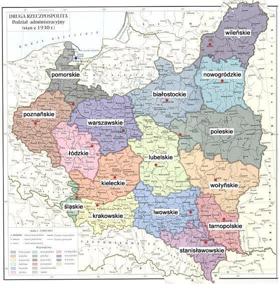 Polska z 1930 r. - podział administracyjny