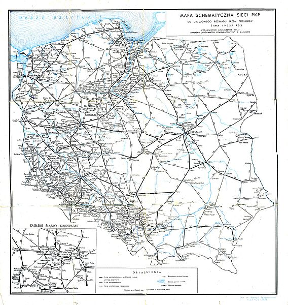 sieć kolejowa w1952r.
