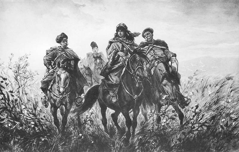 Helena z Zagłobą, Wołodyjowskim i Rzędzianem w ucieczce z Czortowego Jaru