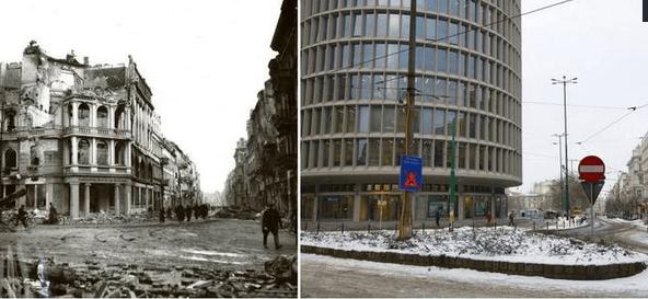Dzisiejszy Okrąglak stoi w miejscu przedwojennego Banku Cukrownictwa. Widok w stronę ul. 27 grudnia.