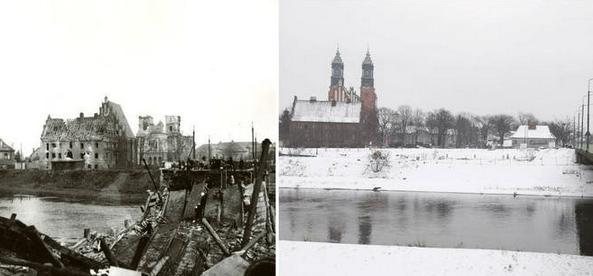 Zniszczony most B. Chrobrego. W tle widać Katedrę