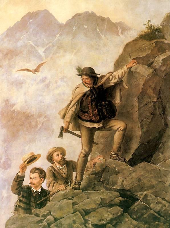 Przewodnik i turyści w Tatrach
