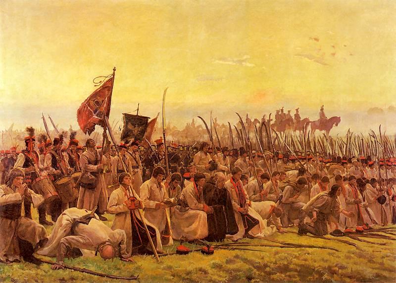 Chełmoński_Modlitwa_przed_bitwa
