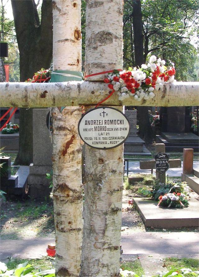 Krzyż nad grobem hm. kpt Andrzeja Morro na Cmentarzu Wojskowym na Powązkach w Warszawie