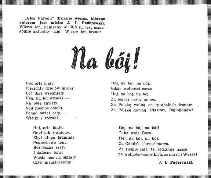 Na Bój Ignacego Jana Paderewskiego Na Bój Za Polskę Wolną
