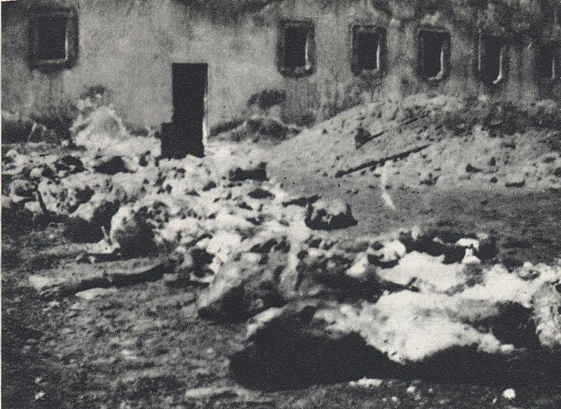 Szczątki ofiar niemieckiego terroru ekshumowane na dziedzińcu więzienia przy ul. Gęsiej (1946)