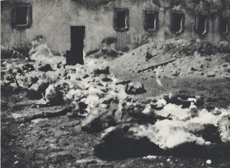 Szczątki ofiar niemieckiego terroru ekshumowane nadziedzińcu więzienia przyul. Gęsiej (1946)