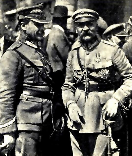 Józef Piłsudski i Józef Haller w czasie przeglądu wojsk powracających ze zwycięskiej operacji bitwy warszawskiej