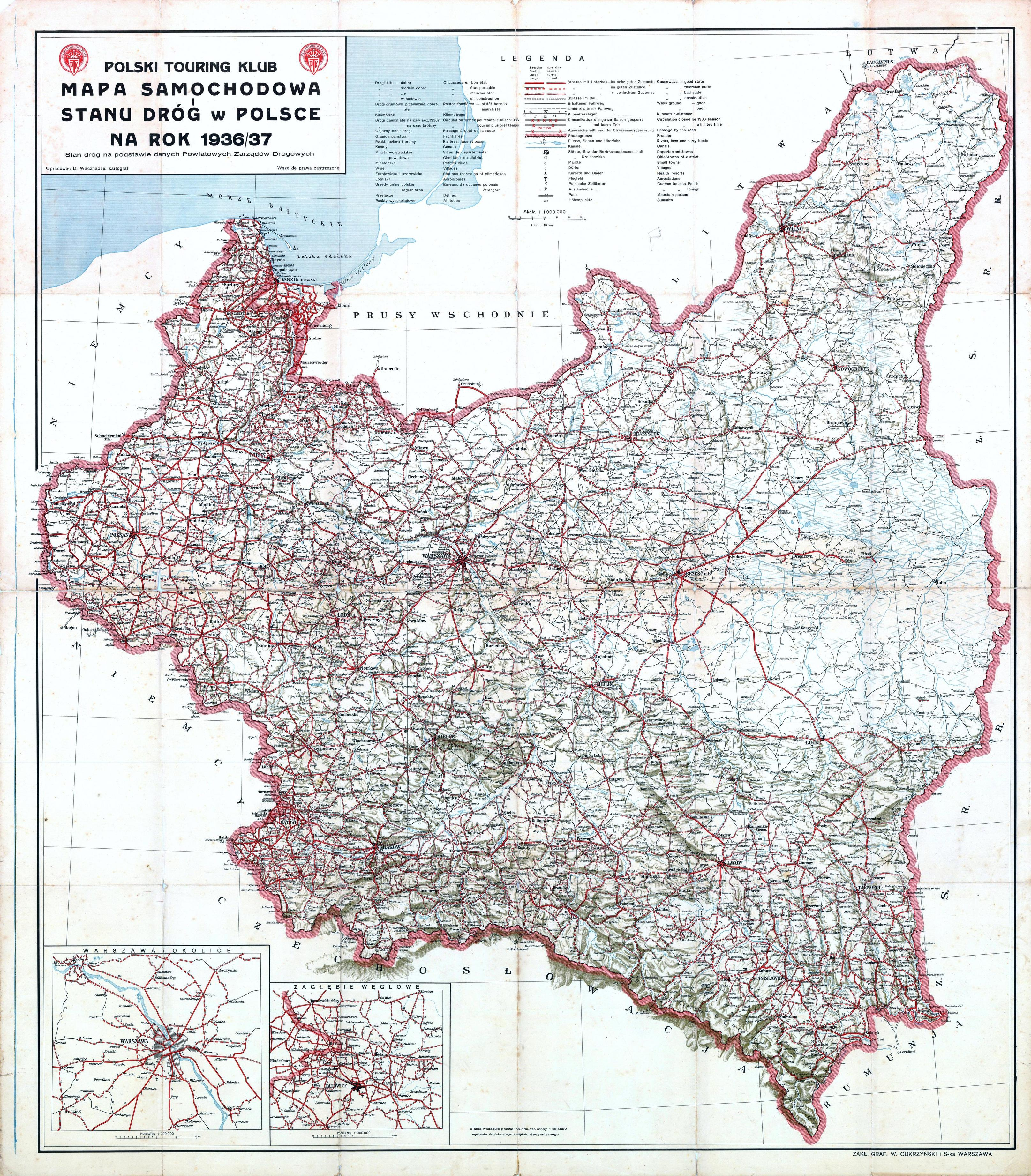 Polska Mapa Samochodowa Na Rok 193637 Niezłomnicom