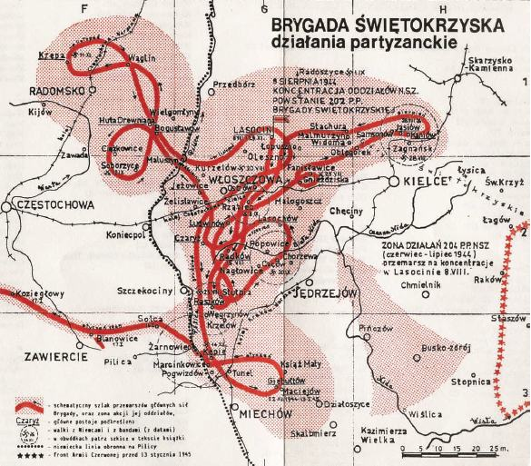 Mapa obrazująca działania bojowe Brygady Świętokrzyskiej na Kielecczyźnie, sierpień 1944 r.–styczeń 1945 r.