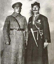 Kliment Woroszyłow (członek rady Wojenno-Rewolucyjnej 1.Armii Konnej i Siemion Budionny jej dowódca