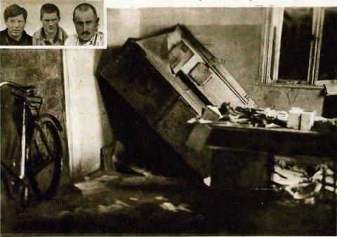 Zdemolowany Urząd Pocztowy w Stołpcach. U góry sprawcy napadu: Sapiński, Goriaczko, Joda