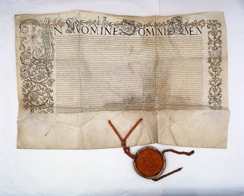 Potwierdzenie przezStefana Batorego nasejmie koronacyjnym 4 maja 1576 r. praw iprzywilejów szlachty Rzeczypospolitej, Archiwum Główne Akt Dawnych