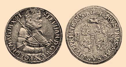 Medal zwizerunkiem króla Stefana Batorego orazjego herb, lata 80. XVI w., wikipedia.pl