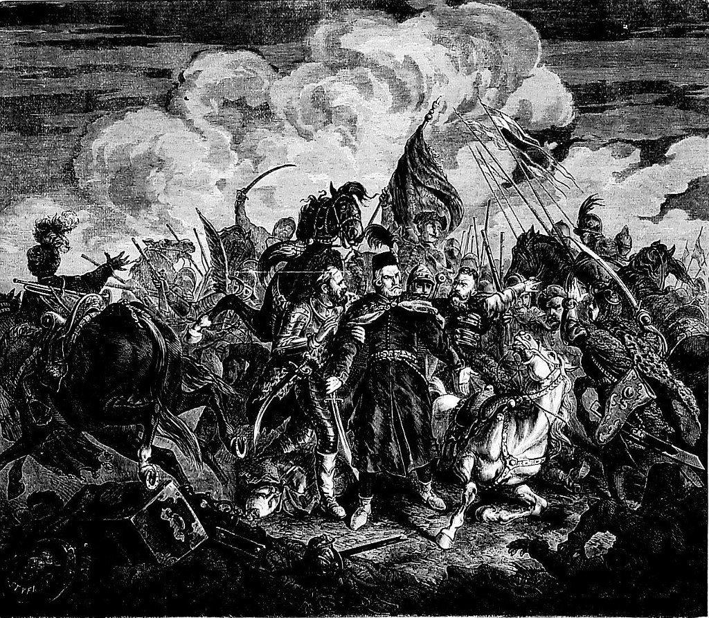 """Bitwa pod Cecorą (obraz J. Kossaka, """"Tygodnik Ilustrowany"""", 1862 r.)"""