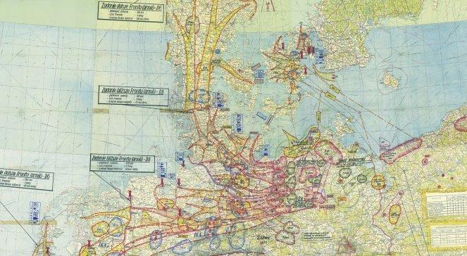 Mapa sztabowa z planami ataku na Europę północno-zachodnią, foto: Ze zbiorów IPN