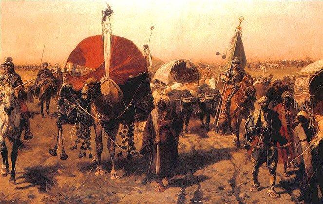 """""""Powrót zWiednia"""" - reprod. fot. obrazu Józefa Brandt (1841–1915)."""