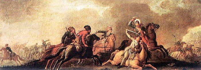 Bitwa pod Maciejowicami pędzla Jana Bogumiła Plerscha. Kościuszko pada ranny w bitwie.