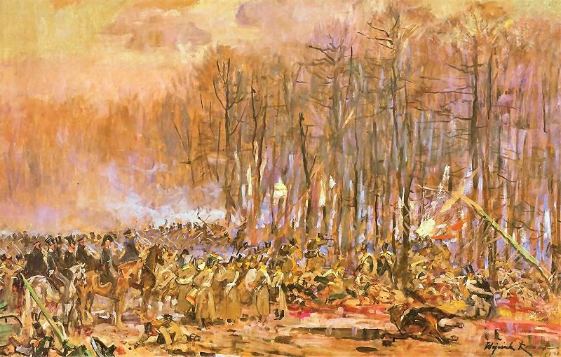 Marsz czwartaków na kolumny Dybicza, szkic do panoramy