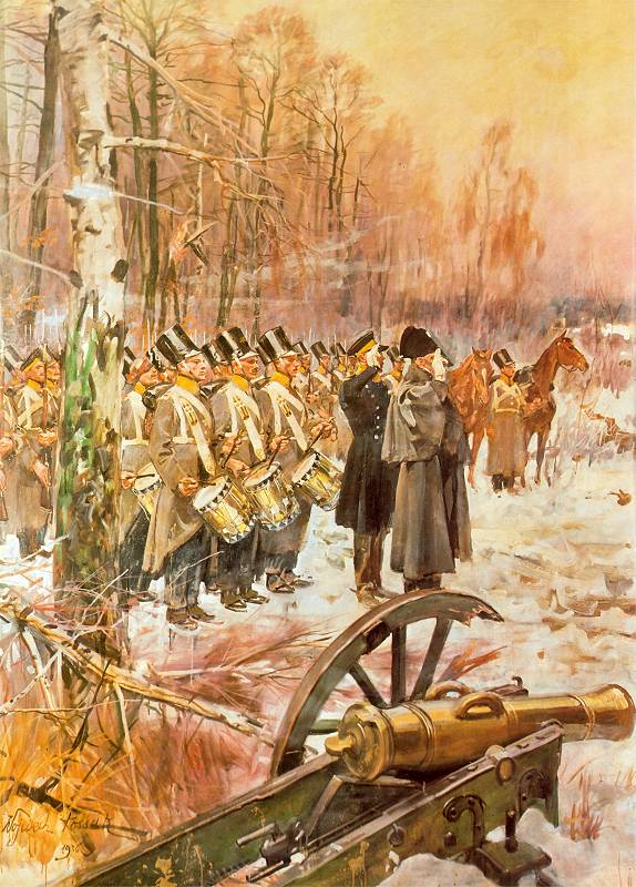 Przegląd 4 pułku piechoty na pozycji w Olszynce Grochowskiej