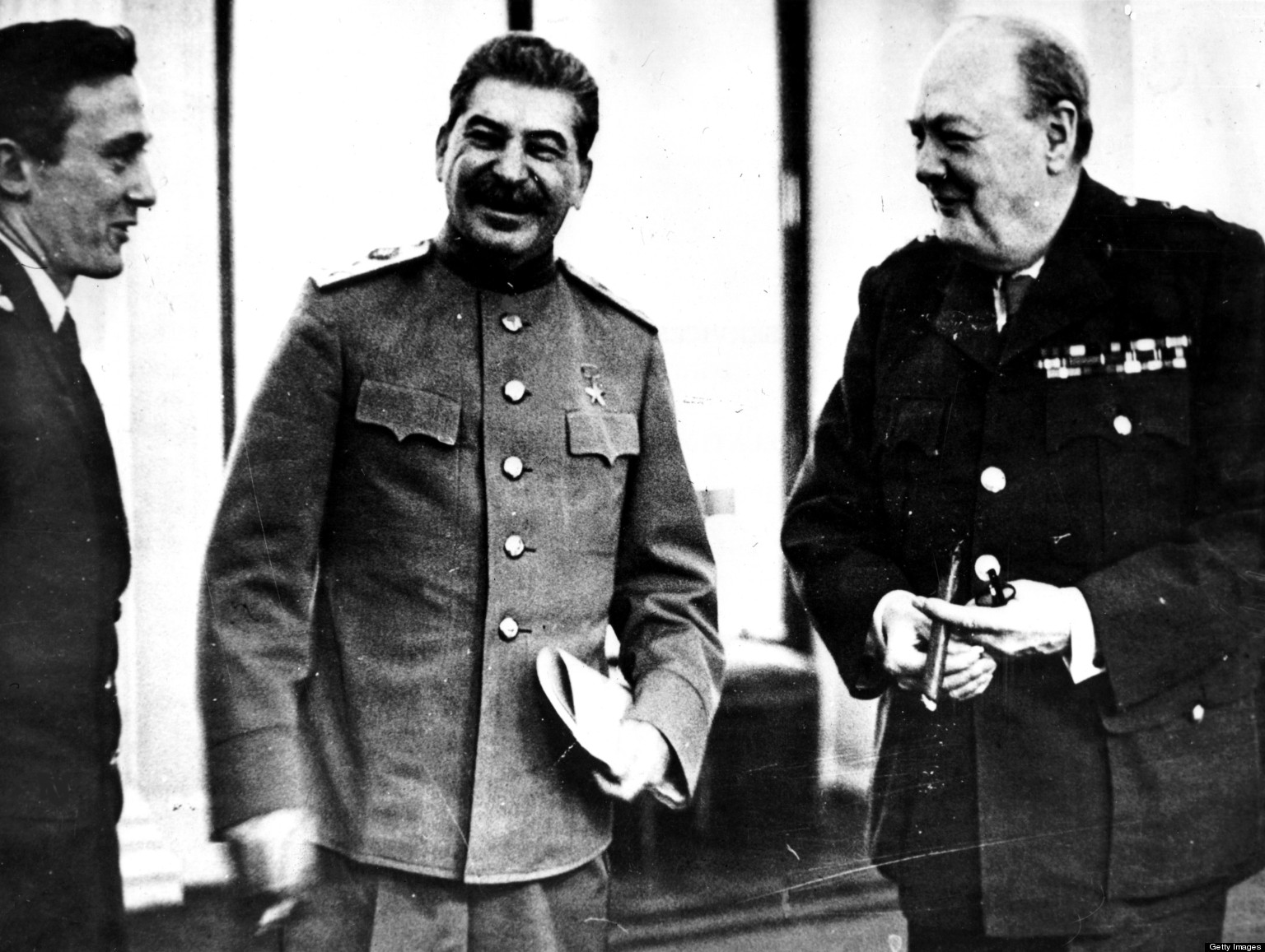 Yalta Conference, Joseph V, Stalin and Winston S, Churchill, February 1945, World War II, Washington, Library of Congress.