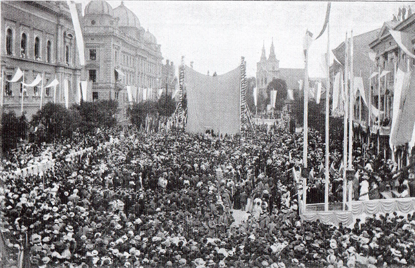Zlot Grunwaldzki z okazji 500. rocznicy zwycięstwa - odsłonięcie Pomnika Grunwaldzkiego na placu Matejki, Kraków 1910 r.