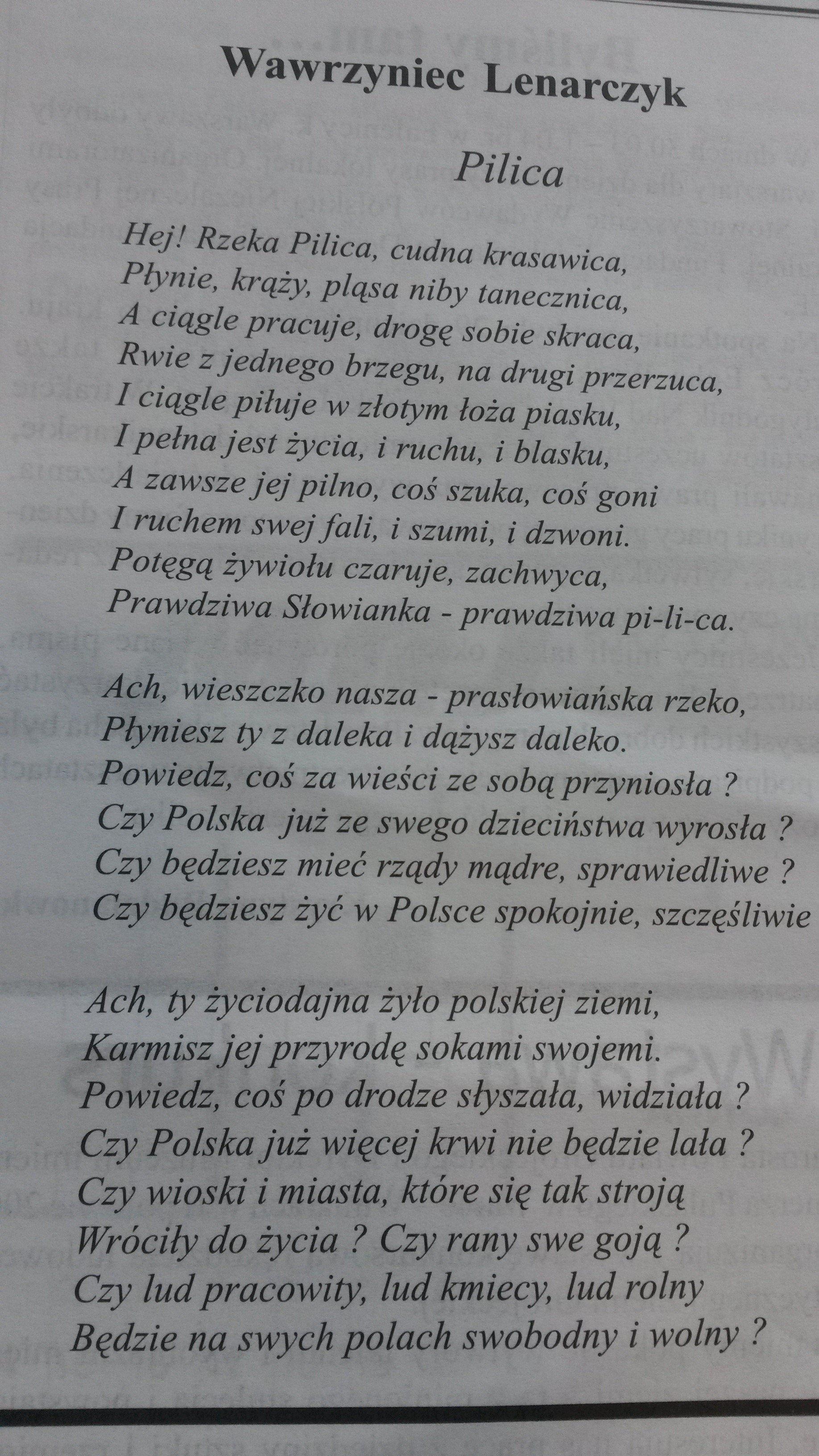 Ach Ty życiodajna żyło Polskiej Ziemi Karmisz Jej Przyrodę