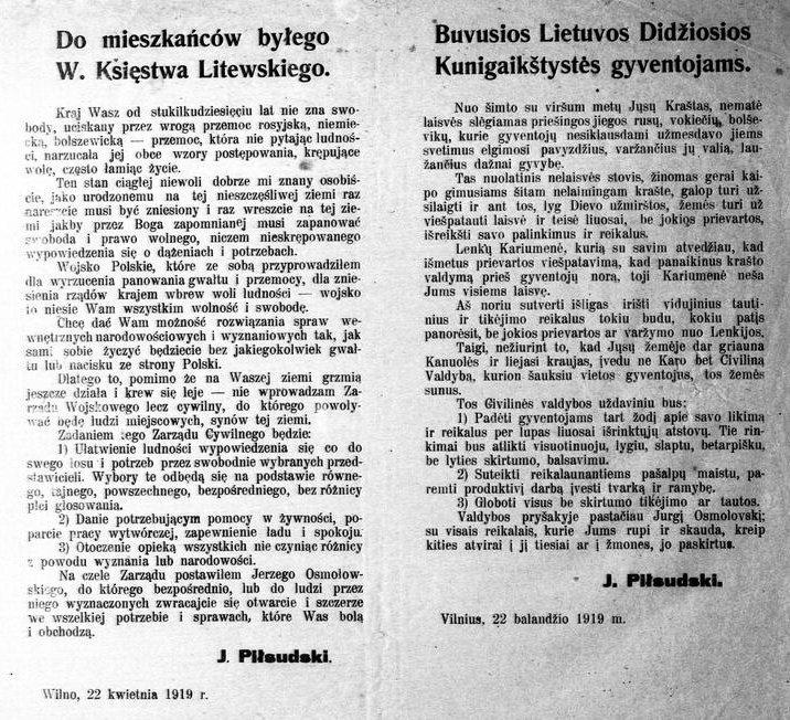 Dwujęzyczna odezwa Piłsudskiego Domieszkańców byłego Wielkiego Księstwa Litewskiego (22 kwietnia 1919).