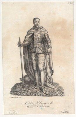 jeden z dowódców wojsk Unii pod Łopusznem Mikołaj Kamieniecki, rycina Teofila Żychowicza z 1841 r., Polona, CC-BY-NC.