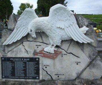 Pomnik żołnierzy WOP poległych w walkach z UPA w Jasielu w kwaterze wojskowej na Nowym Cmentarzu w Zagórzu