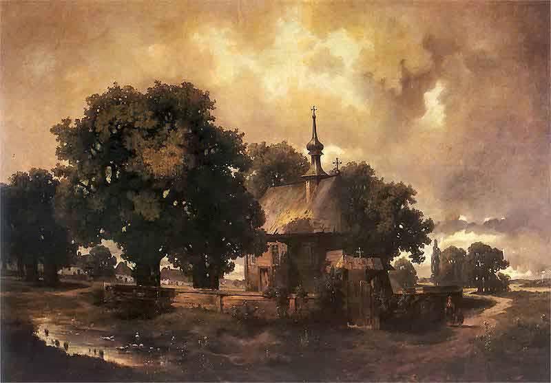 Władysław Malecki i obraz Pejzaż z kościółkiem