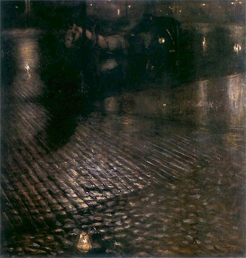 """Obraz: Józef Pankiewicz i obraz """"Dorożka w nocy"""" [1893 r.]"""