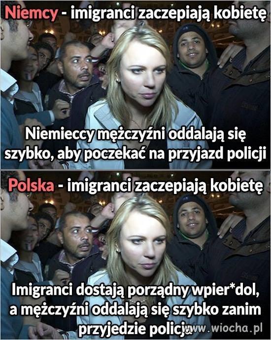 Imigranci zaczepiają kobietę w Polsce i w Niemczech