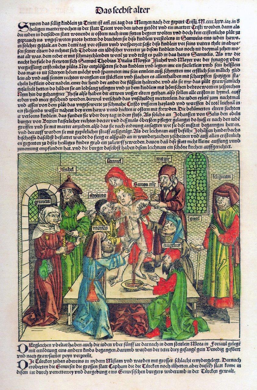 Rycina mająca przedstawiać historię Szymona z Trydentu, autorstwa Hartmanna Schedelsa (1493)