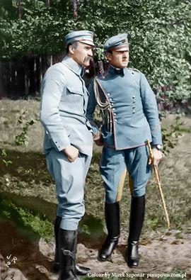 1916r. Józef Piłsudski ze swoim adiutantem Bolesławem Wieniawą-Długoszowskim.