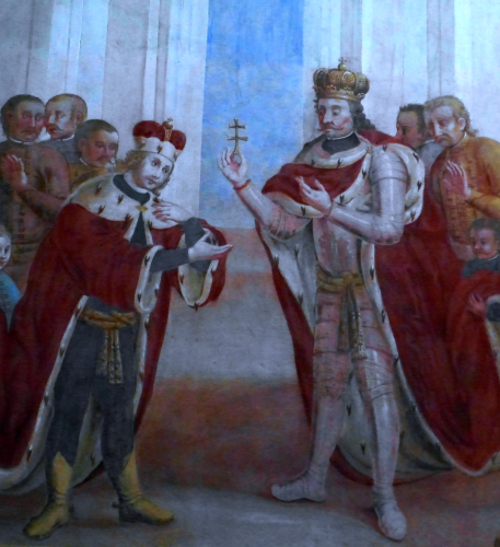 stephen_i_of_hungary_is_giving_holy_cross_relics_to_his_son_saint_emeric_by_maciej_reichan_1782-457x500.png